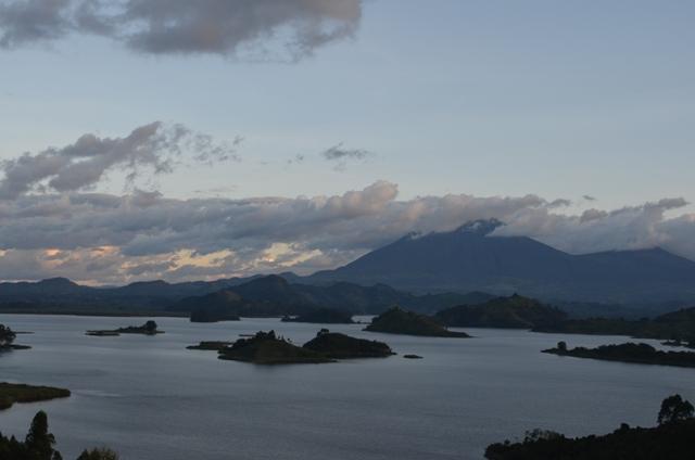Incredible views of Lake Mutanda and Virunga Volcanoes from Chameleon Hill Lodge